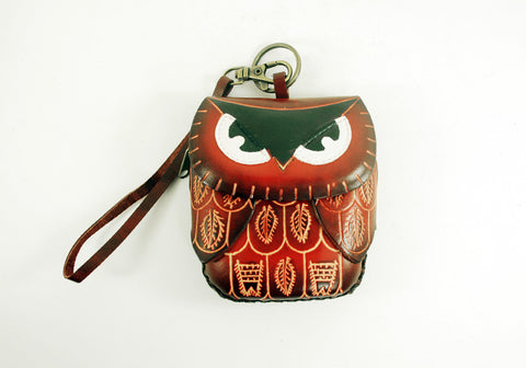 Leather Owl Purse Wristlet