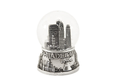 Philadelphia Silver Skyline Snow Globe 45mm