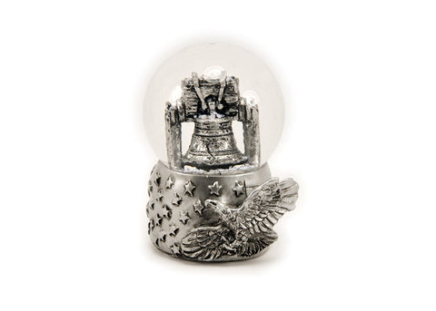 Liberty Bell with Eagle in Silver 45mm Snow Globe