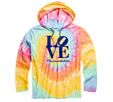 Philadelphia LOVE Tie Dye Lightweight Hooded Sweatshirt
