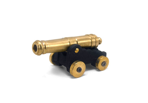 "24 Pounder Naval Cannon With Rolling Wheels 3"" Long"