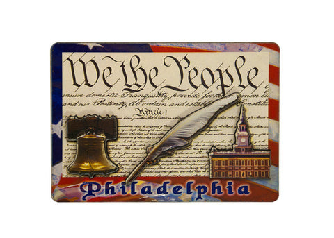 We the People 2D Wooden Magnet