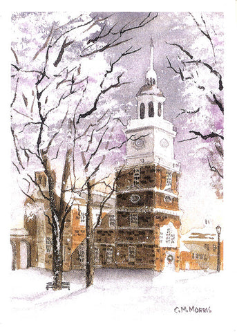 Snowy Independence Hall Christmas Boxed Cards