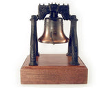 Large Liberty Bell Metal on Wooden Base