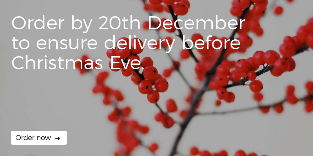 Christmas delivery. Order by 20th December to ensure delivery by 24th December (Christmas Eve)