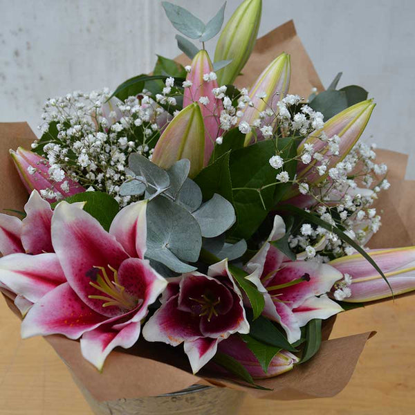 Oriental Lily Hand-Tied Funeral Tribute