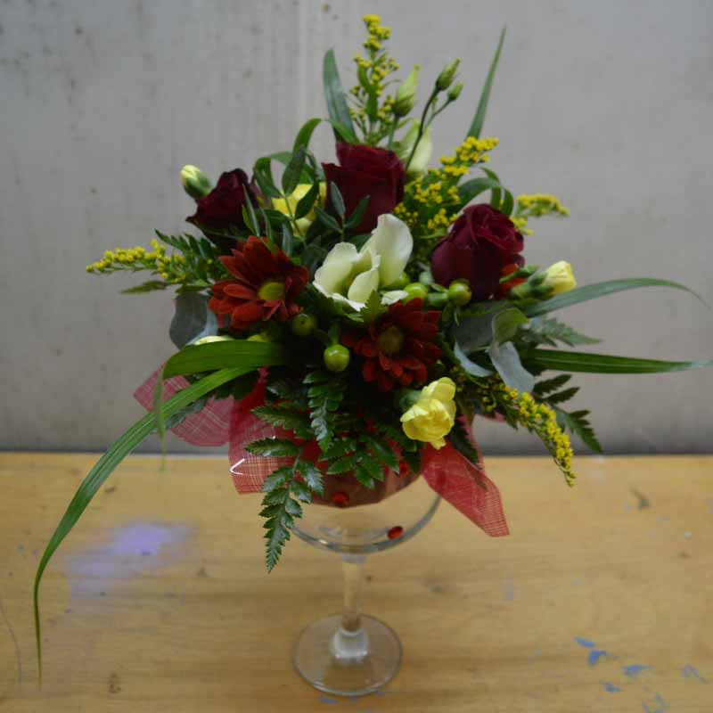 Ruby Red Fluted Arrangement
