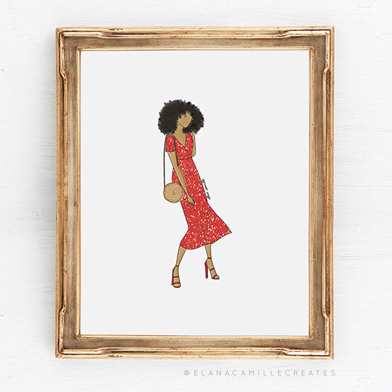 Élana Camille Creates - Red Dress Art Print for Gallery Wall in 8x10 size