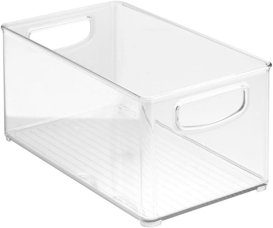 "Clear Organizer Storage Bin with Handle Compatible with Kitchen I Best Compatible with Refrigerators, Cabinets & Food Pantry - 10"" x 5"" x 6"""