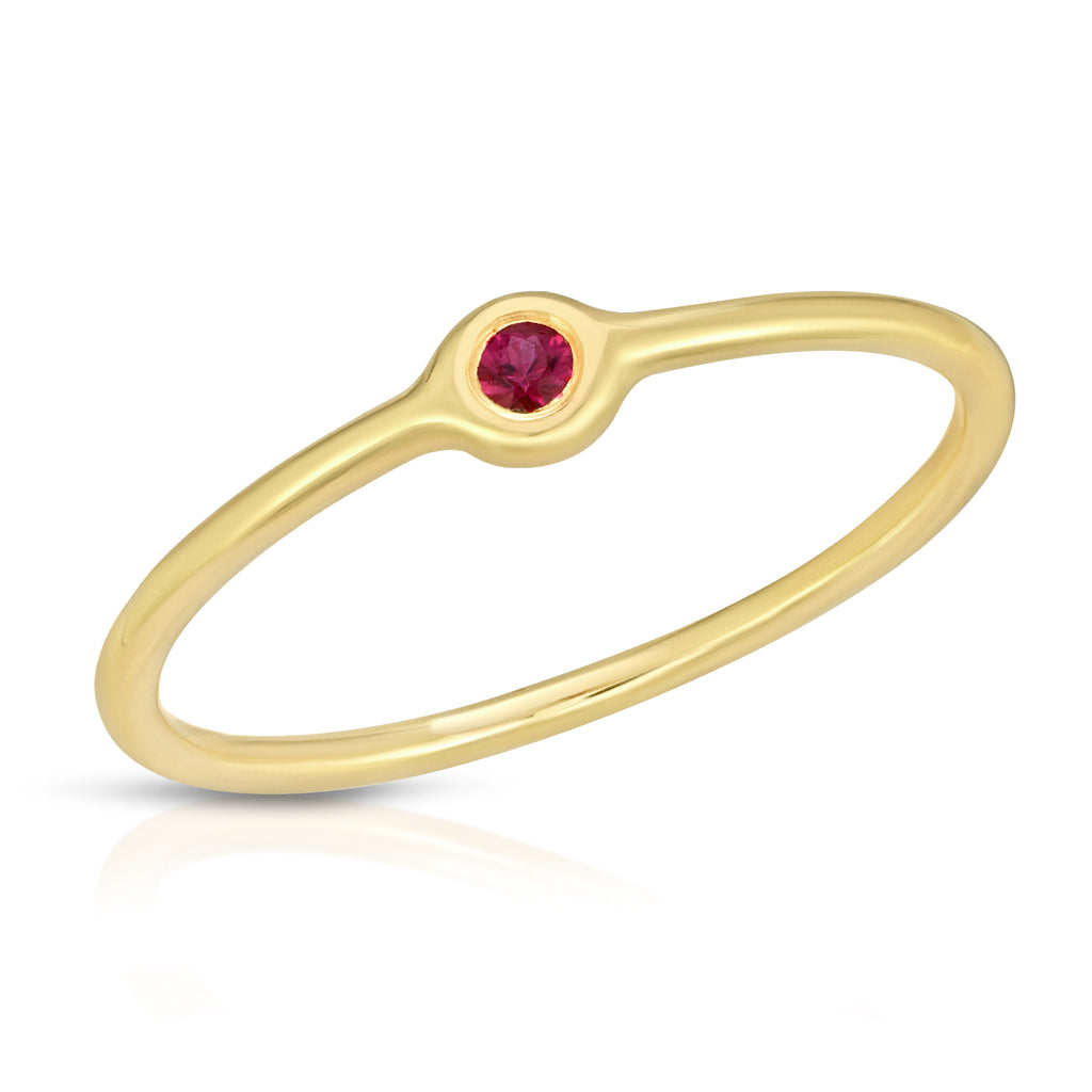 14K Ruby Bezel Ring