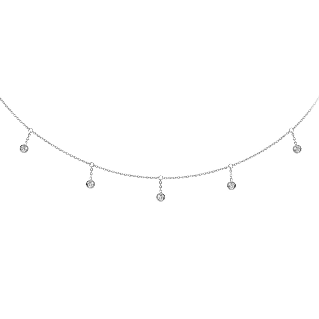 14K Diamond Dangle Choker
