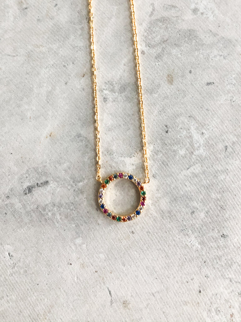 Multi Color Circle Necklace
