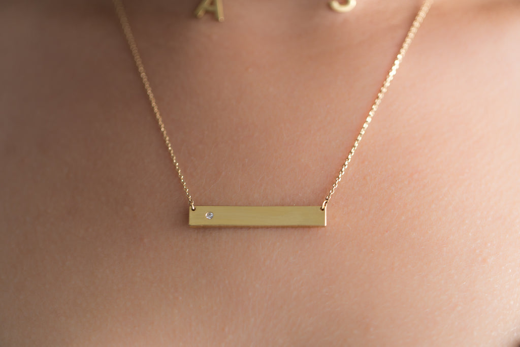included is plated engravable necklace engraved gold silver chain bar sterling