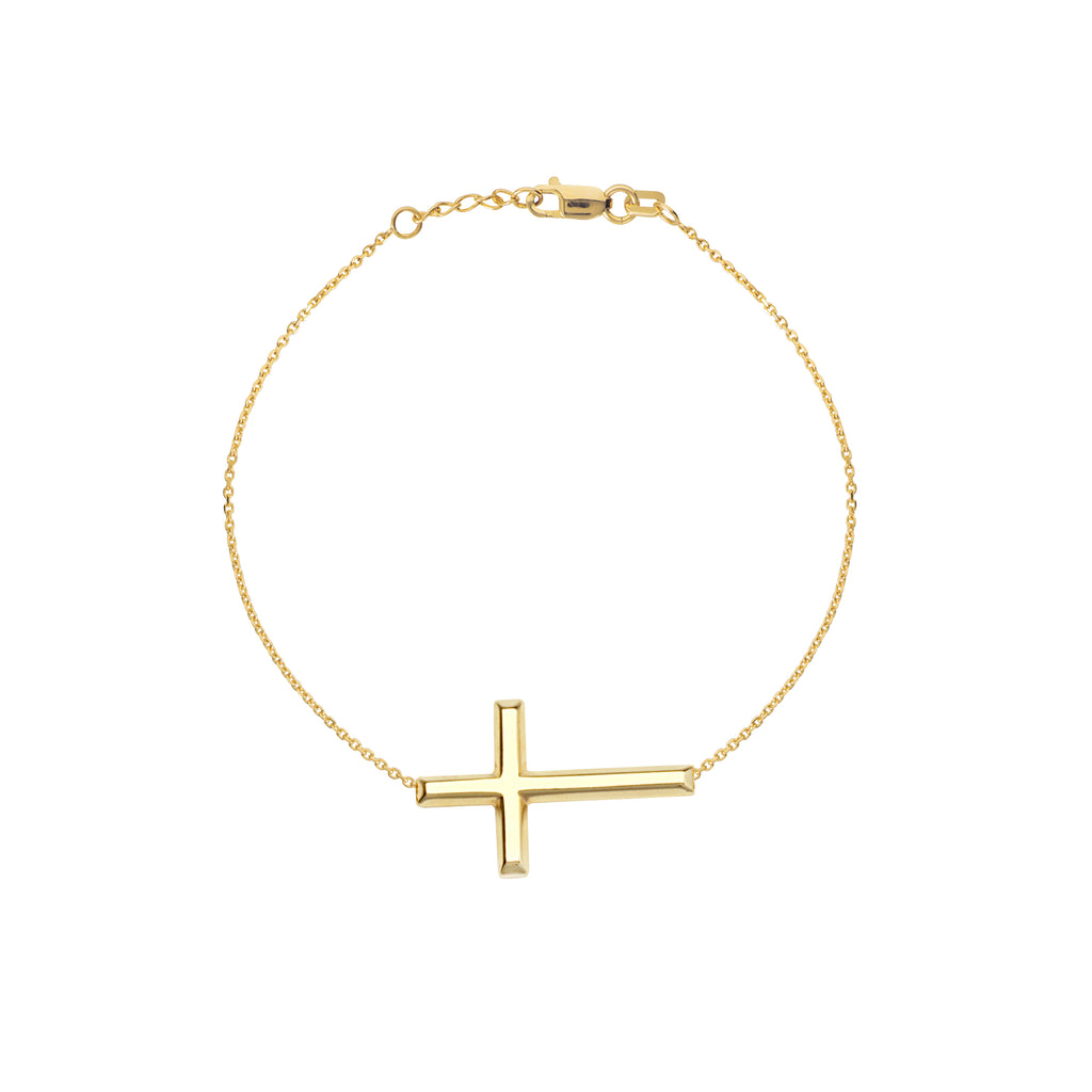 14K Gold Large Cross Bracelet