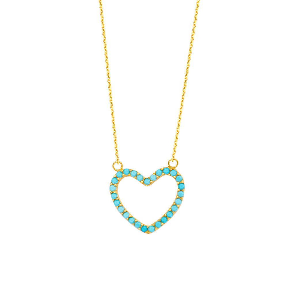 14K Turquoise Heart Necklace