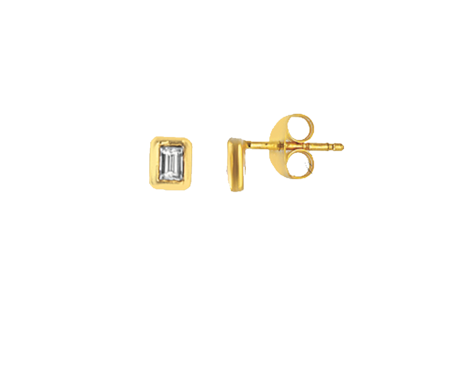 14K Emerald Cut Diamond Studs