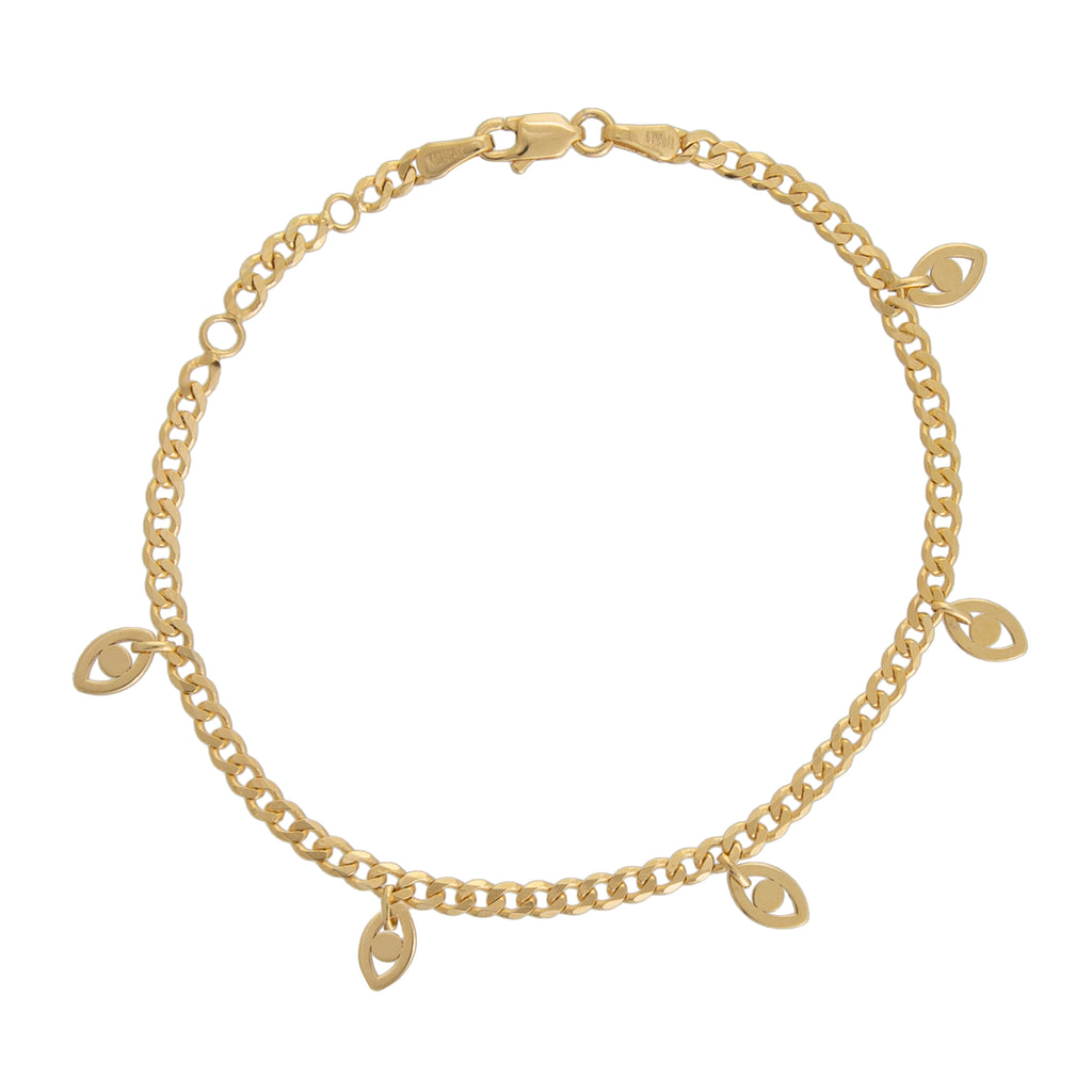 14K Gold Evil Eye Dangle Bracelet