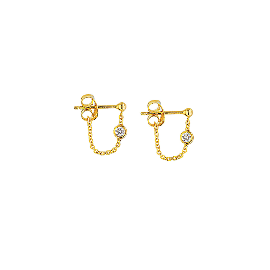 14K Gold Diamond Chain Earrings