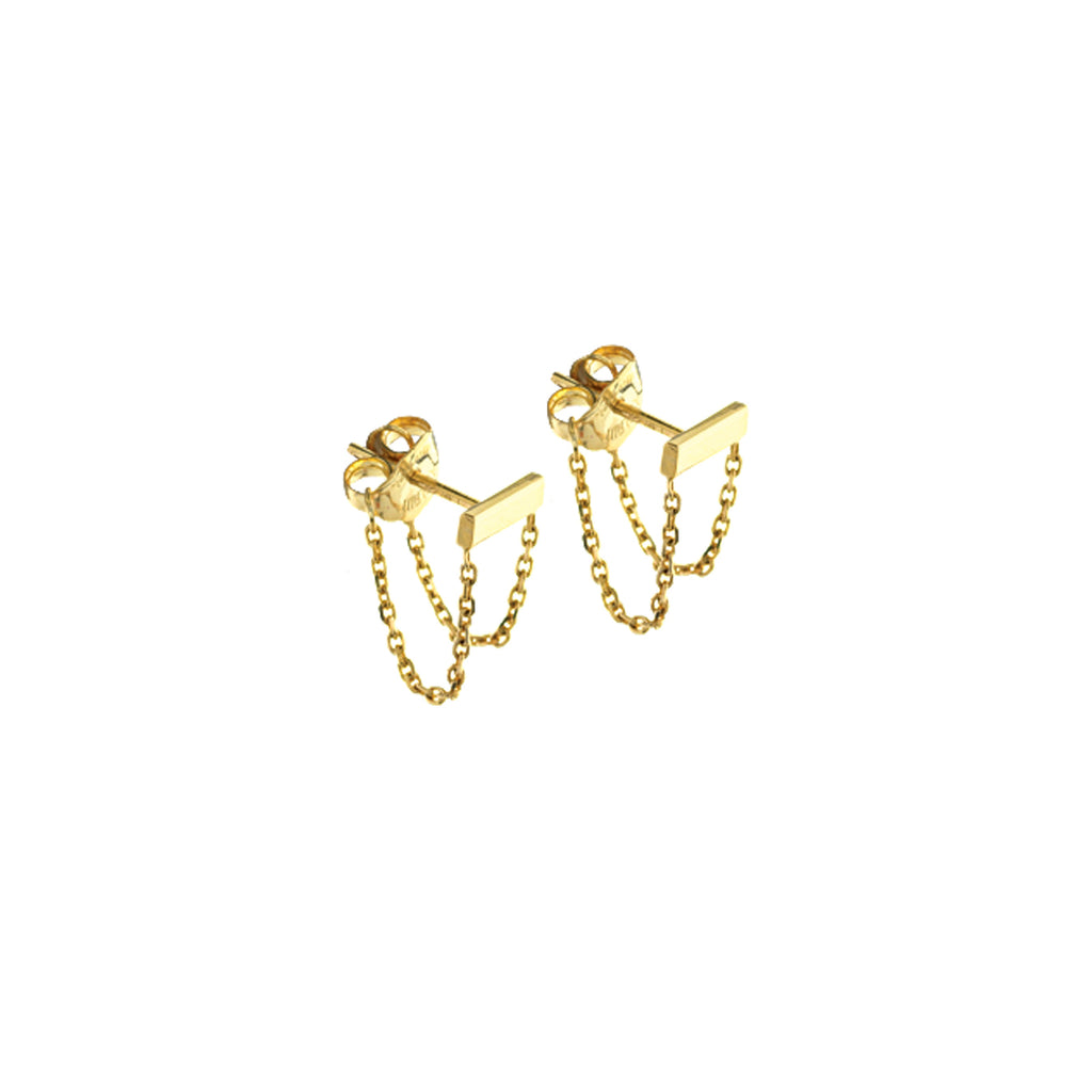 14K Bar Chain Earrings