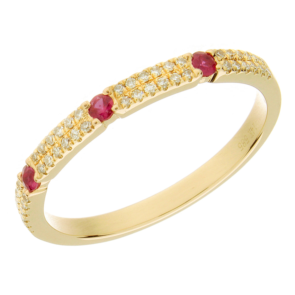 14K Double Row Ruby + Diamond Ring