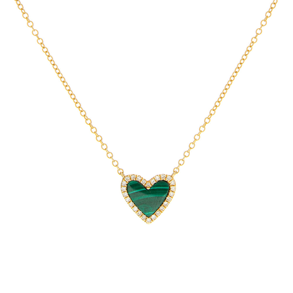 14K Diamond Heart Malachite Necklace