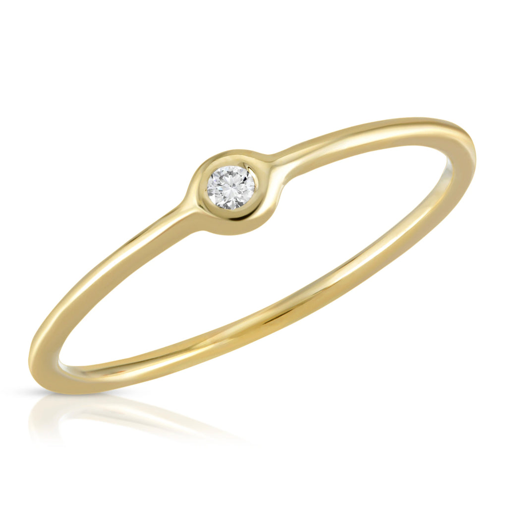 14K Round Solitaire Ring
