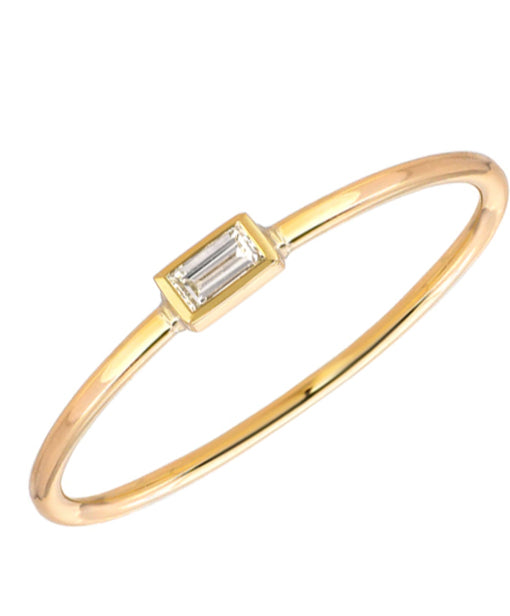 14K Baguette Diamond Stackable Ring