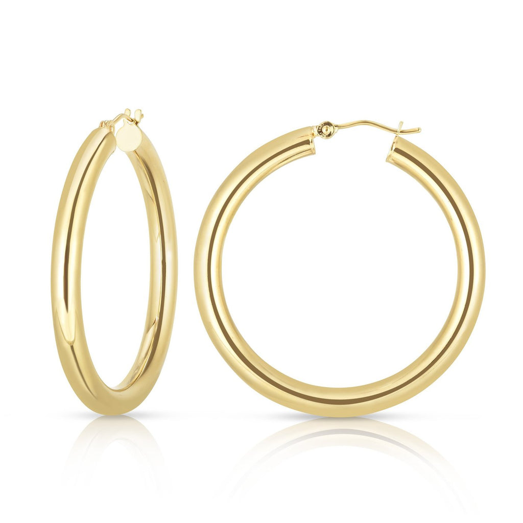 14K 4mm Chunky Hoops