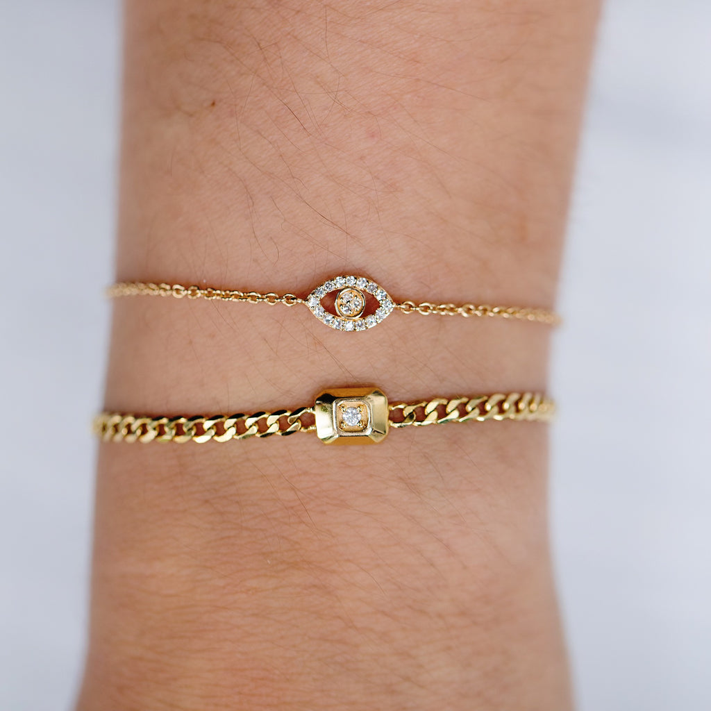 14K Diamond In a Box Bracelet