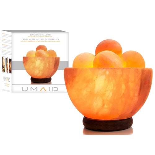 UMAID Natural Himalayan Rock Sea Salt Lamp Bowl with 6 Heated Salt Massage Balls, Stylish Wood Base, Bulb with Dimmable Switch UL-Listed Cord