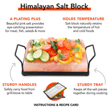 UMAID Natural Himalayan Salt Cooking Block Plate & Holder for Cooking, Grilling, Cutting and Serving.