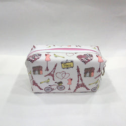 Assorted Print Cosmetic/Travel Pouch in White Color - Best Price Company India
