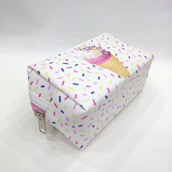 Icecream Print Cosmetic/Travel Pouch in White Color - Best Price Company India