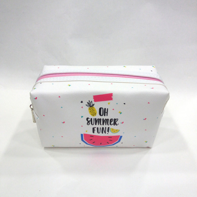 Summer Fun Print Cosmetic/Travel Pouch in White Color - BestP : Best Product at Best Price