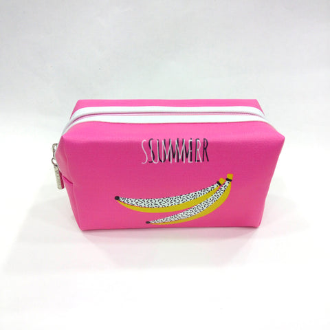 Summer Banana Print Cosmetic/Travel Pouch in Pink Color - Best Price Company India