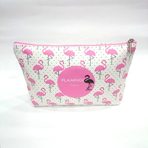 Flamingo Print Cosmetic/Travel Bag in White Color - BestP : Best Product at Best Price