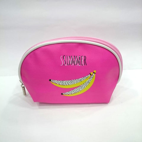 Banana Print Cosmetic/Travel Pouch in Dark Pink Color - BestP : Best Product at Best Price