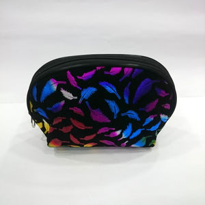 Leaves Print Cosmetic/Travel Pouch in Deep Black Color - Best Price Company India