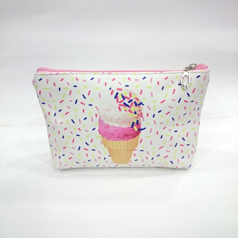 Icecream Print Cosmetic/Travel Pouch in White Color - BestP : Best Product at Best Price