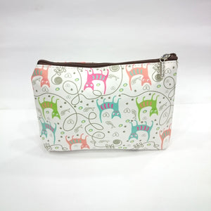 Assorted Print Cosmetic/Travel Pouch in White Color - BestP : Best Product at Best Price
