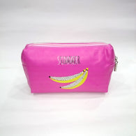 Banana Print Cosmetic/Travel Bag in Dark Pink Color - Best Price Company India