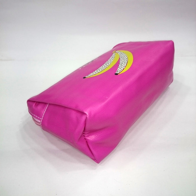Banana Print Cosmetic/Travel Bag in Dark Pink Color - BestP : Best Product at Best Price