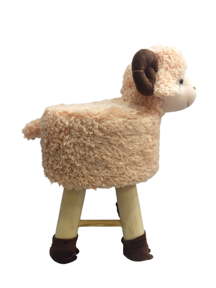 Wooden Animal Stool for Kids (Sheep) | Round High Neck | With Removable Soft Fabric Cover |(SKN) 42 CM