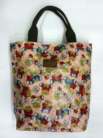 Teddy Bear Print Multipurpose Tote Handbag in Light Pink Color - Best Price Company India