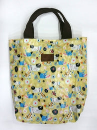 Cartoon Dog Print Multipurpose Tote Handbag in Khaki Yellow Color - Best Price Company India