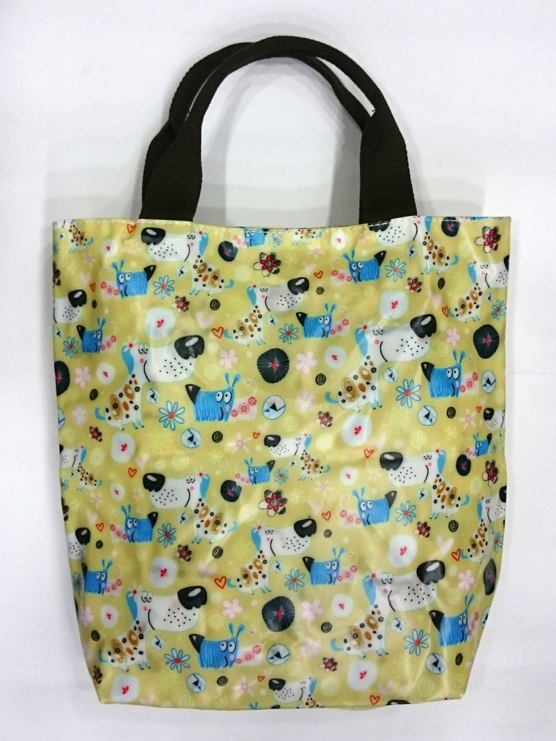 Cartoon Dog Print Multipurpose Tote Handbag in Khaki Yellow Color - BestP : Best Product at Best Price