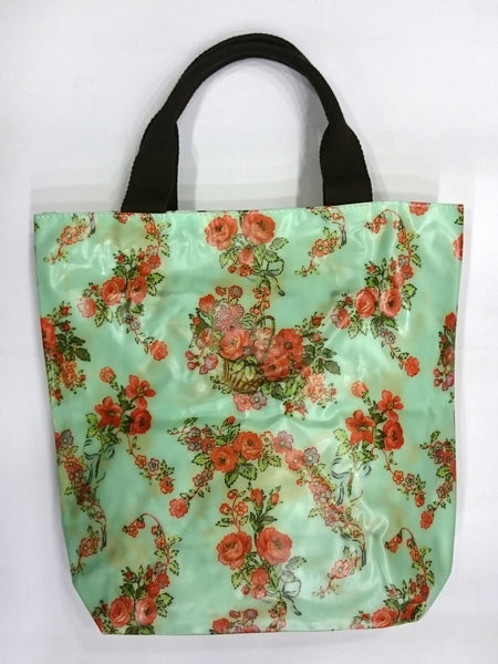 Flower Print Multipurpose Tote Handbag in Light Green Color - Best Price Company India