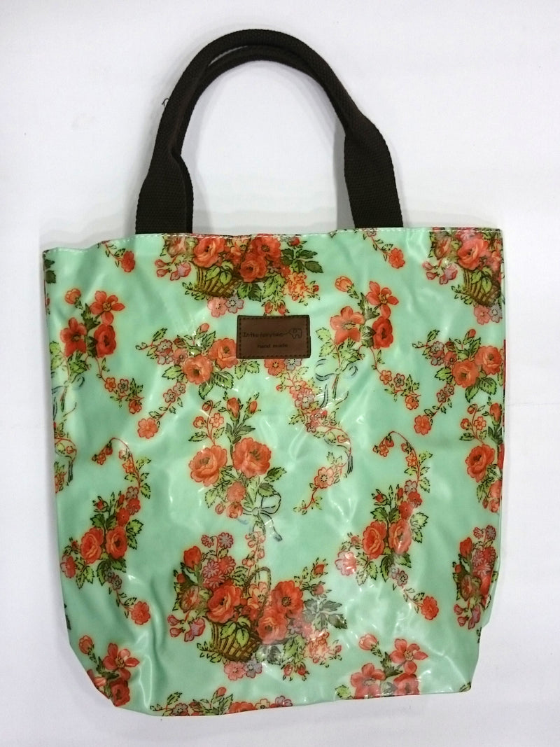 Flower Print Multipurpose Tote Handbag in Light Green Color - BestP : Best Product at Best Price