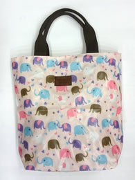 Elephant Print Multipurpose Tote Handbag in Light Pink Color - Best Price Company India