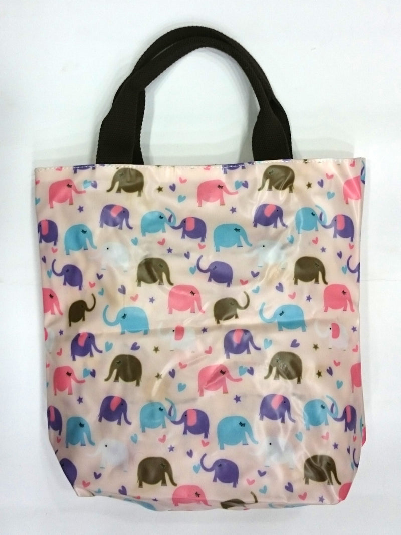 Elephant Print Multipurpose Tote Handbag in Light Pink Color - BestP : Best Product at Best Price